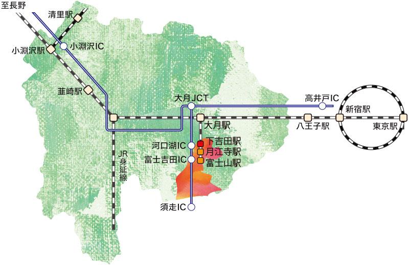 富士吉田への地図